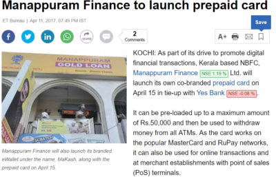 Manappuram Finance to launch prepaid card with Teknospire Solutions